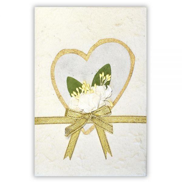 SAA Grußkarte   weisses Herz mit silberner Umrahmung