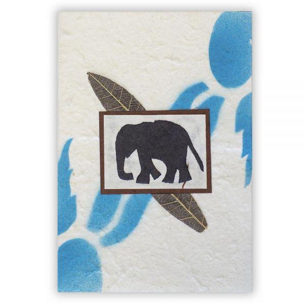 SAA Grußkarte | Elefant, braun blau
