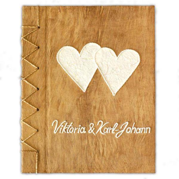 Hochzeits Gästebuch Nr. 10 mit Namen und zwei weissen Herzen