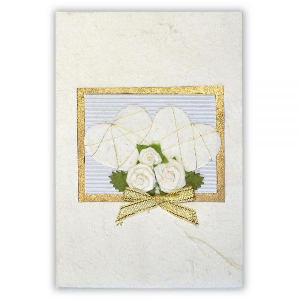 SAA Grußkarte | weisse Herzen mit goldener Scheife