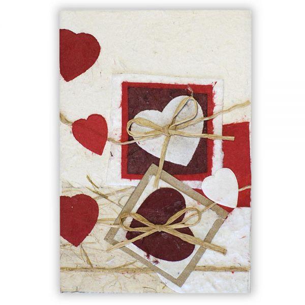 SAA Grußkarte | dunkelrote Herzen