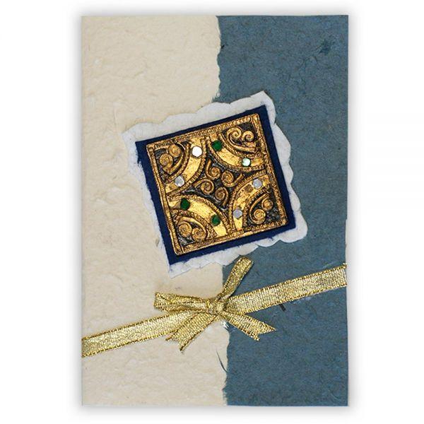 SAA Grußkarte | mit Glassteinen, hellblau