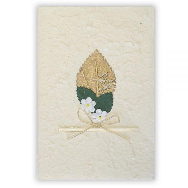 SAA Grußkarte | goldfarbenes Blatt mit Schleife