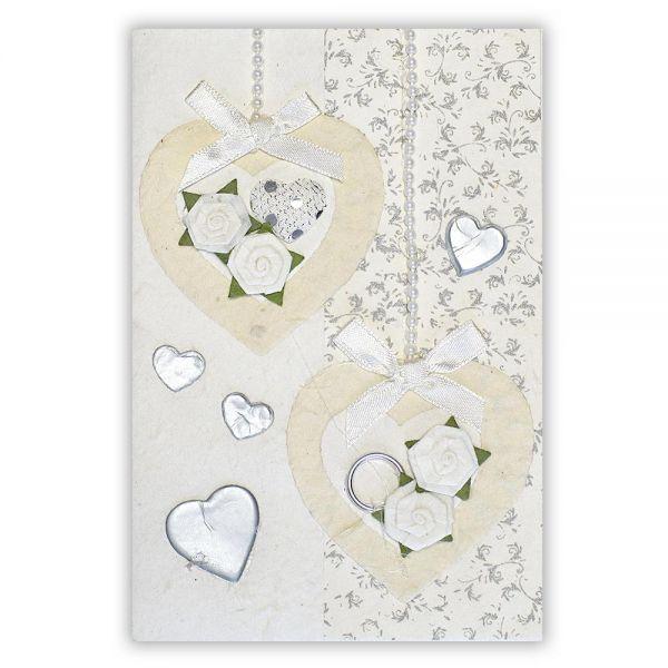 SAA Grußkarte | 2 weisse Herzen mit Borte und Perlenschur