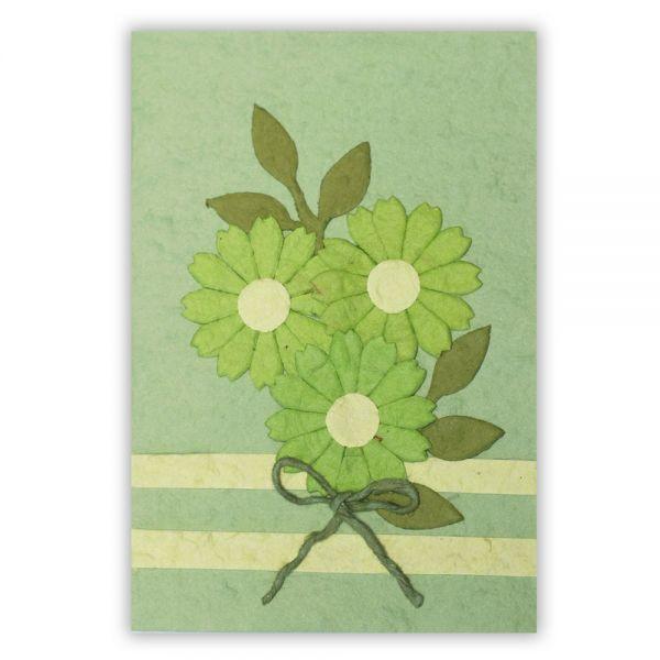 SAA Grußkarte | 3 grüne Blüten mit Schleife