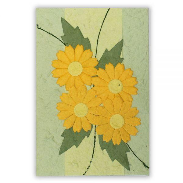 SAA Grußkarte | 4 gelbe Blüten mit Blätter