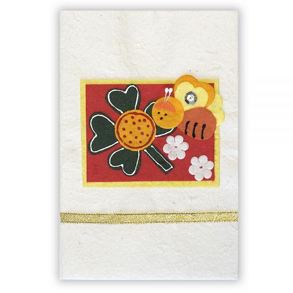 SAA Grußkarte | Glücksklee mit Herzen und Biene