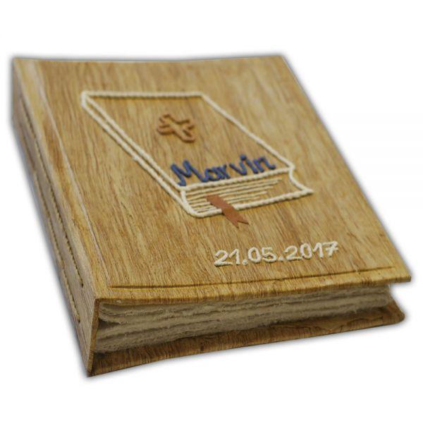 Kommunion, Album, Bibel mit Kreuz, Name und Datum