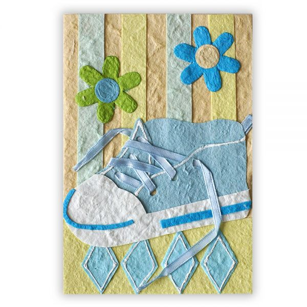 SAA Baby Grußkarte | blauer Schuh