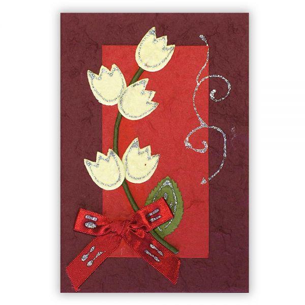 SAA Grußkarte | 5 gelbe Rosen mit roter Schleife auf rotem Grund