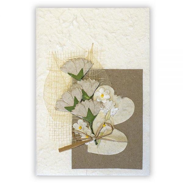 SAA Grußkarte | 2 weisses Herz mit 4 Blüten natur