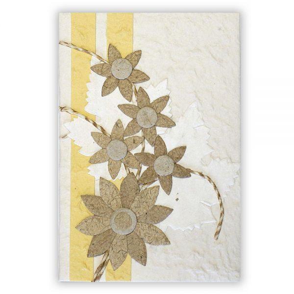 SAA Grußkarte | 5 Sternblüten natur mit Ornamentscheiffe