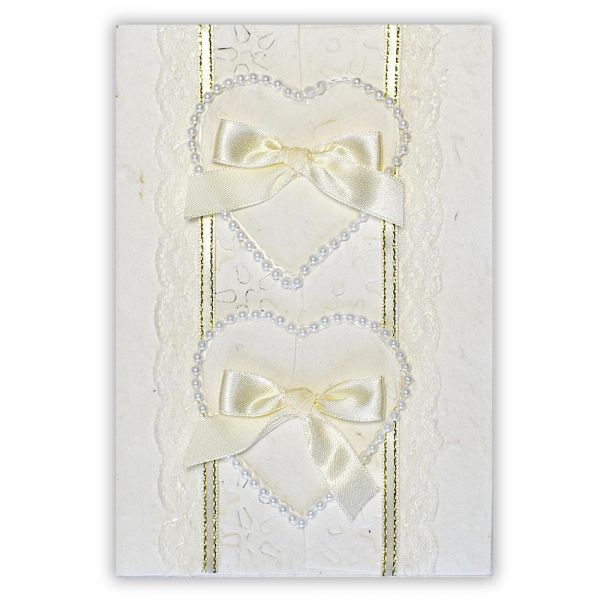 SAA Grußkarte | 2 Herzen mit Perlenschnur und Silbergoldborde
