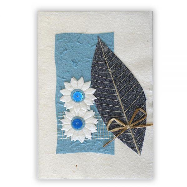 SAA Grußkarte | Naturblatt in Hellblau mit Schleife