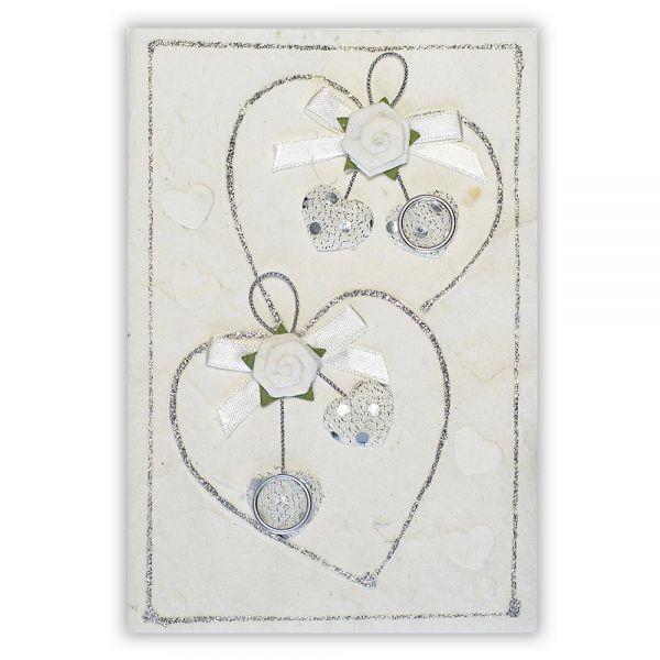 SAA Grußkarte | 2 weisse Herzen mit Silberborte und silberne Ringe
