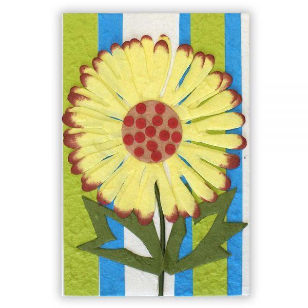 SAA Grußkarte | große gelbe Blume auf mehrfarbigem Grund