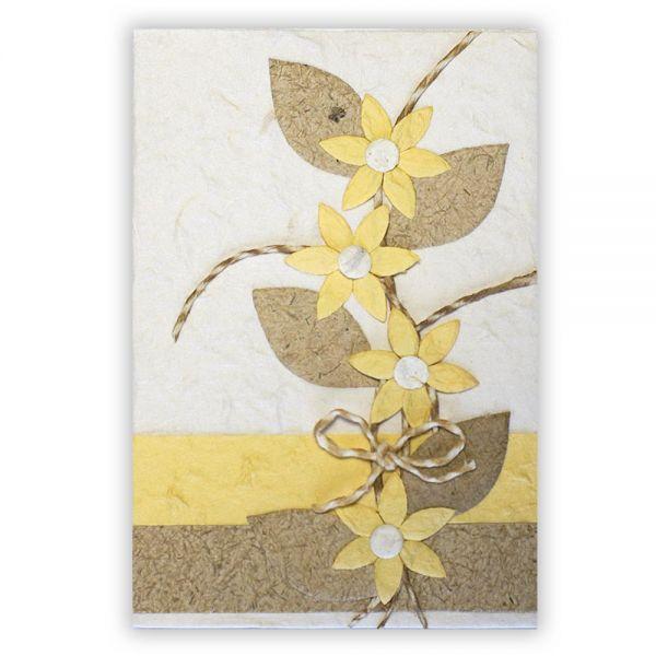 SAA Grußkarte | 4 gelbe Blüten natur mit Ornamentschleife