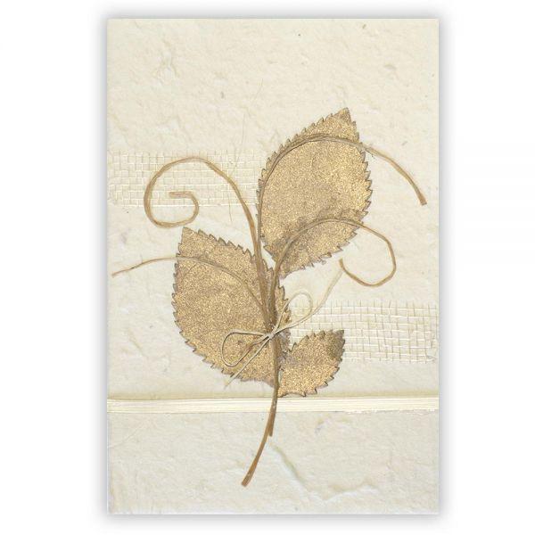 SAA Grußkarte | goldfarbene Blätter mit Ornamentschleife