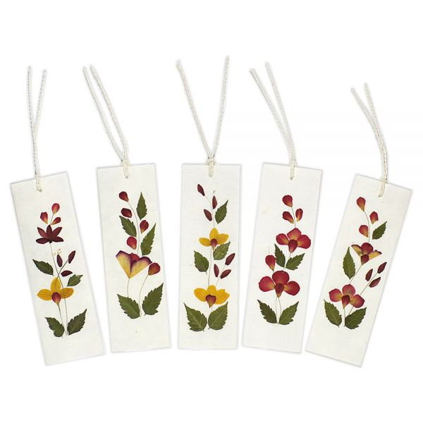 Lesezeichen 5er-Set mit echten getrockneten Blüten...