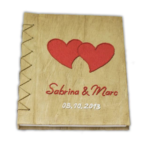 """Hochzeits Gästebuch Nr. 19 - """"Rote Herzen mit Namen"""""""