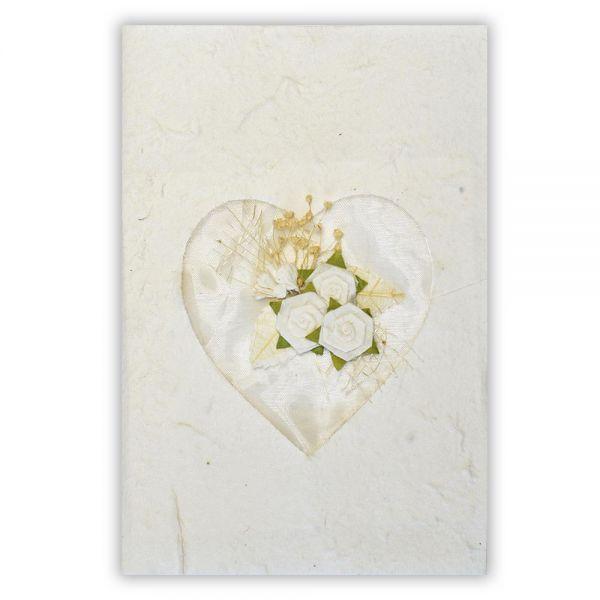 SAA Grußkarte | freiliegendes weisses Herz mit Blüten