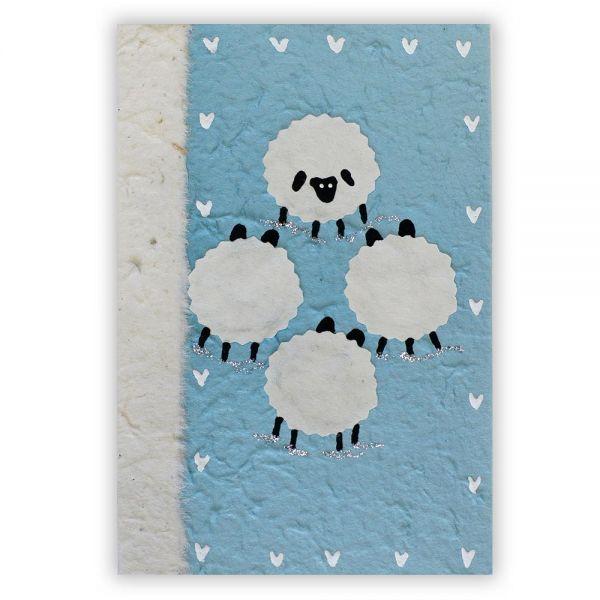 SAA Grußkarte | 4 Schafe auf blauem Grund