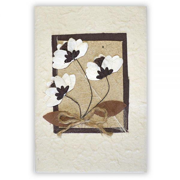 SAA Grußkarte | 3 Blüten natur mit Skelett Blatt
