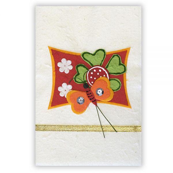 SAA Grußkarte | Glücksklee mit Herzen und Schmetterling