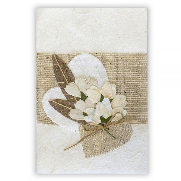 SAA Grußkarte | weisses Herz mit brauner Grasblüte