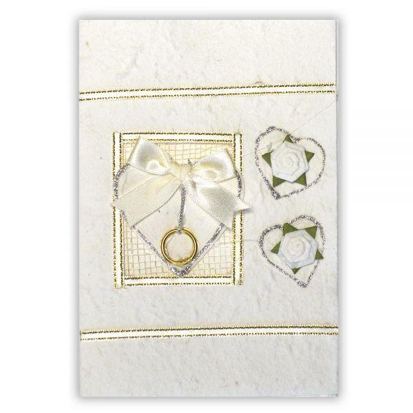 SAA Grußkarte | weisses Herz auf Netz und 2 Blütenherzen