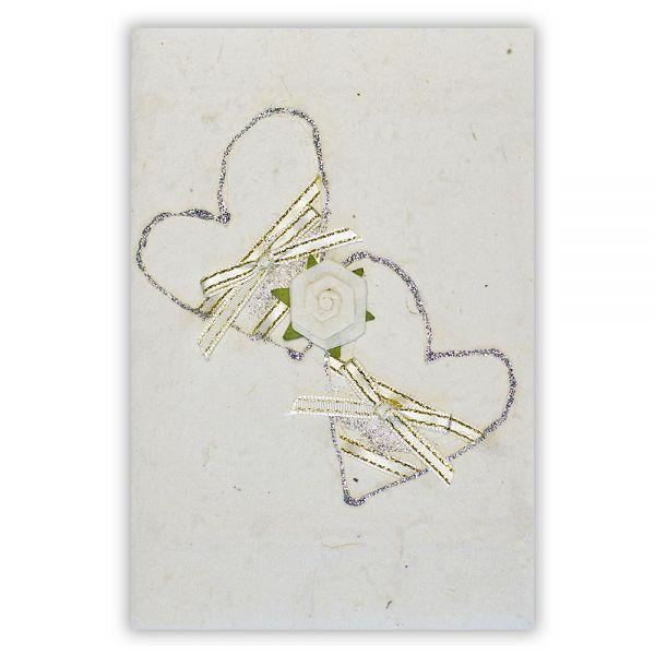 SAA Grußkarte | 2 silberne Herzen mit Silberschleife