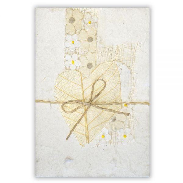 SAA Grußkarte | weisses Herz mit Schleife, natur